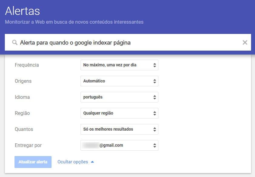 Alertas por email google